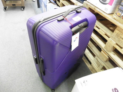 American Tourista purple suitcase with wheels