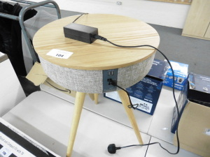 Touch down oak coffee table speaker with usb charging