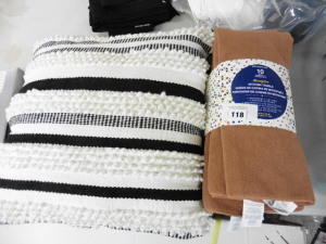 Pack of 10 tea towels and a stripy cushion