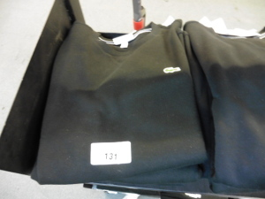 3 Lacoste long sleeve tops in black, US M