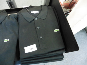 5 Lacoste black polo tops, all US S