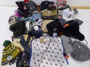Large bag containing accessories including hats, scarves, gloves and belts