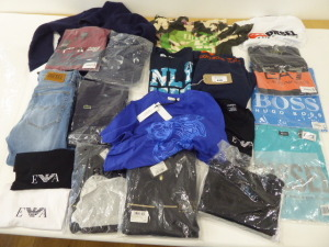 20 pieces of designer clothing including Versace, Hugo Boss and Lacoste (some used)