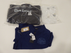 Barbour International white t-shirt size medium, Barbour international blue sweatshirt size medium and Barbour Powell quilted jacket size small