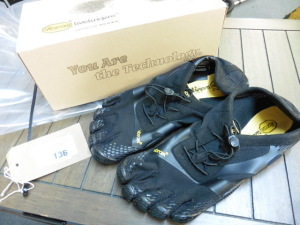 Pair of Vibram 5 finger shoes with toe holes, EU 46